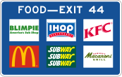 """A picture of a blue interstate sign, labeled """"Food - Exit 44."""" The sign features six different fast food logos in two rows, each row containing three logos. In order from left to right, starting with the first row: Blimpie, IHOP, KFC, McDonalds, Subway, and Romano's Macaroni Grill."""