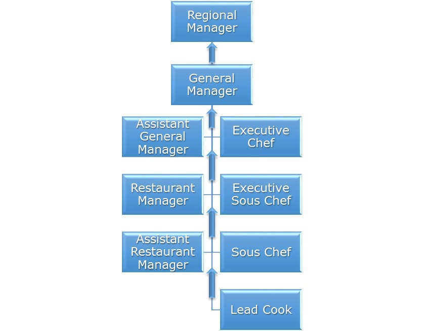 A flow chart of the restaurant industry career path in six levels. The path begins at the bottom with Lead Cook. The next three levels split into two columns, one to the left and right. The left column, in order: Assistant Restaurant Manager; Restaurant Manager; Assistant General Manager. The right column, in order: Sous Chef; Executive Sous Chef; Executive Chef. Both columns combine for the next level, General Manager. The last level is Regional Manager.