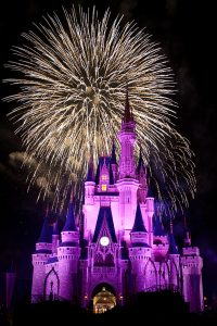 A photograph of the Disney castle at night. The castle is lit up in purple lights. Two white fireworks have exploded behind the castle.
