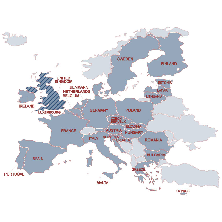 A map of Europe, with countries within the European Union highlighted in blue. Countries within the European Union are shaded in gray and include: Portugal, Spain, Ireland, Luxembourg, France, Italy, Malta, Belgium, Netherlands, Denmark, Germany, Slovenia, Croatia, Austria, Greece, Cyprus, Bulgaria, Romania, Hungary, Slovakia, Czech Republic, Poland, Lithuania, Latvia, Estonia, Sweden, and Finland. The United Kingdom, Great Britain and Northern Ireland, are highlighted in blue and black stripes.