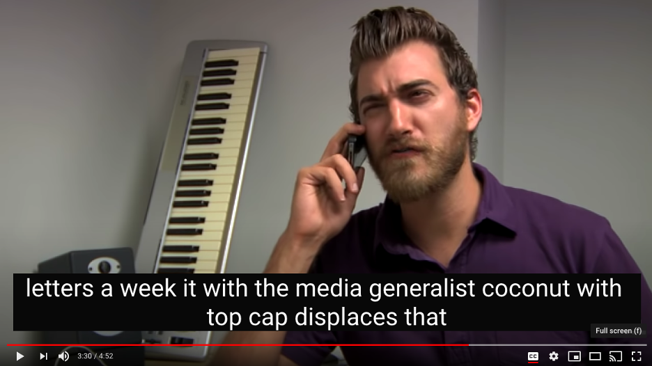 """A screenshot of a youtube video of a man speaking gibberish on the phone. The closed captioning reads, """"letters a week it with the media generalist coconut with top cap displaces that""""."""