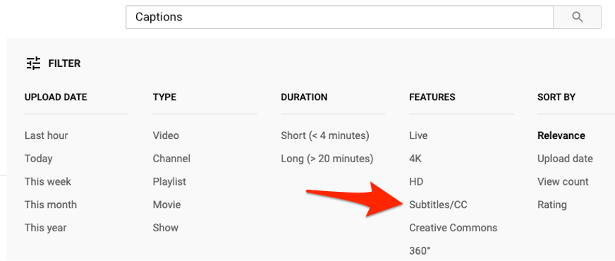 """A screenshot of the YouTube search bar filter. A large red arrow points to the option """"Subtitles/CC"""" under Features in the filter section."""