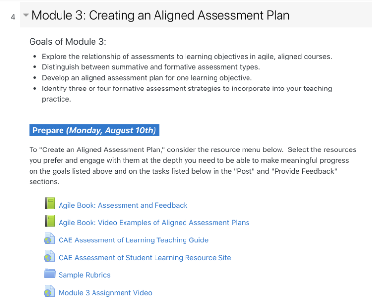 """A screenshot of Module 3: Creating an Aligned Assessment Plan. The goals of Module 3 are listed as such: explore the relationship of assessments to learning objectives in agile, aligned courses, distinguish between summative and formative assessment types, develop and aligned assessment plan for one learning objective, and identify three or four formative assessment strategies to incorporate into your teaching practice. Below the list, a box labeled """"Prepare (Monday, August 10th)"""", sits above this description: To """"Create an Aligned Assessment Plan,"""" consider the resource menu below. Select the resources you prefer and engage with them at the depth you need to be able to make meaningful progress on the goals listed above and on the tasks listed below in the """"Post"""" and """"Provide Feedback"""" sections. Then these resources are listed below the description: Agile Book: Assessment and Feedback, Agile Book: Video Examples of Aligned Assessment Plans, CAE Assessment of Learning Teaching Guide, CAE Assessment of Student Learning Resource Site, Sample Rubrics, and Module 3 Assignment Video."""